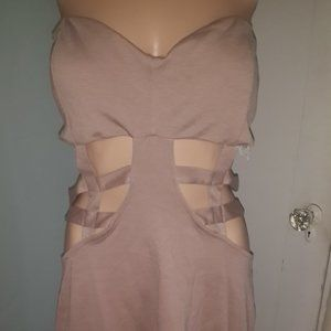 Nude Strapless Dress with Cut Outs - Cute!